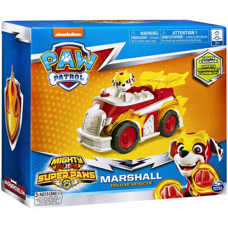 PAW Patrol, Mighty Pups Super PAWs Marshalls Deluxe Vehicle with Lights and Sounds