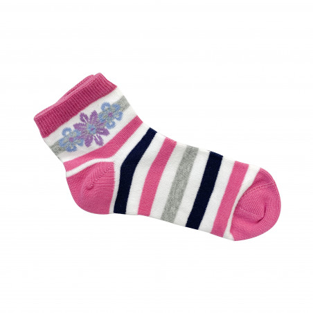 White Gold Stripped Pink & White Socks Size 8